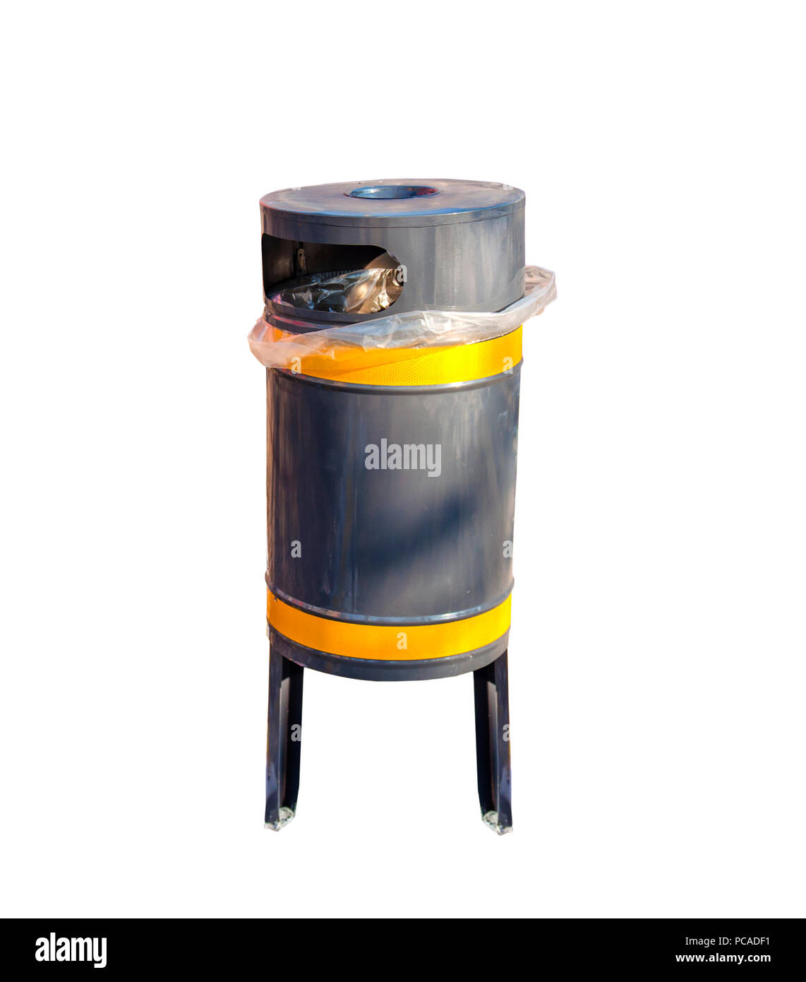 Gray metallic trash can isolated on white background - Stock Image