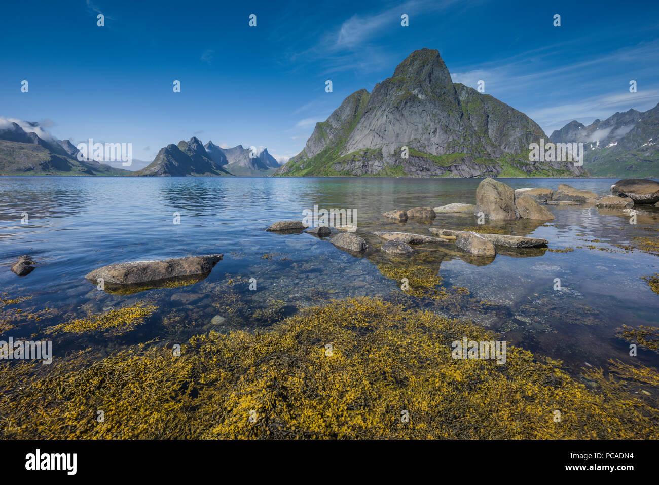 Mount Olstinden close to Reine, Lofoten Islands, Norway. Stock Photo