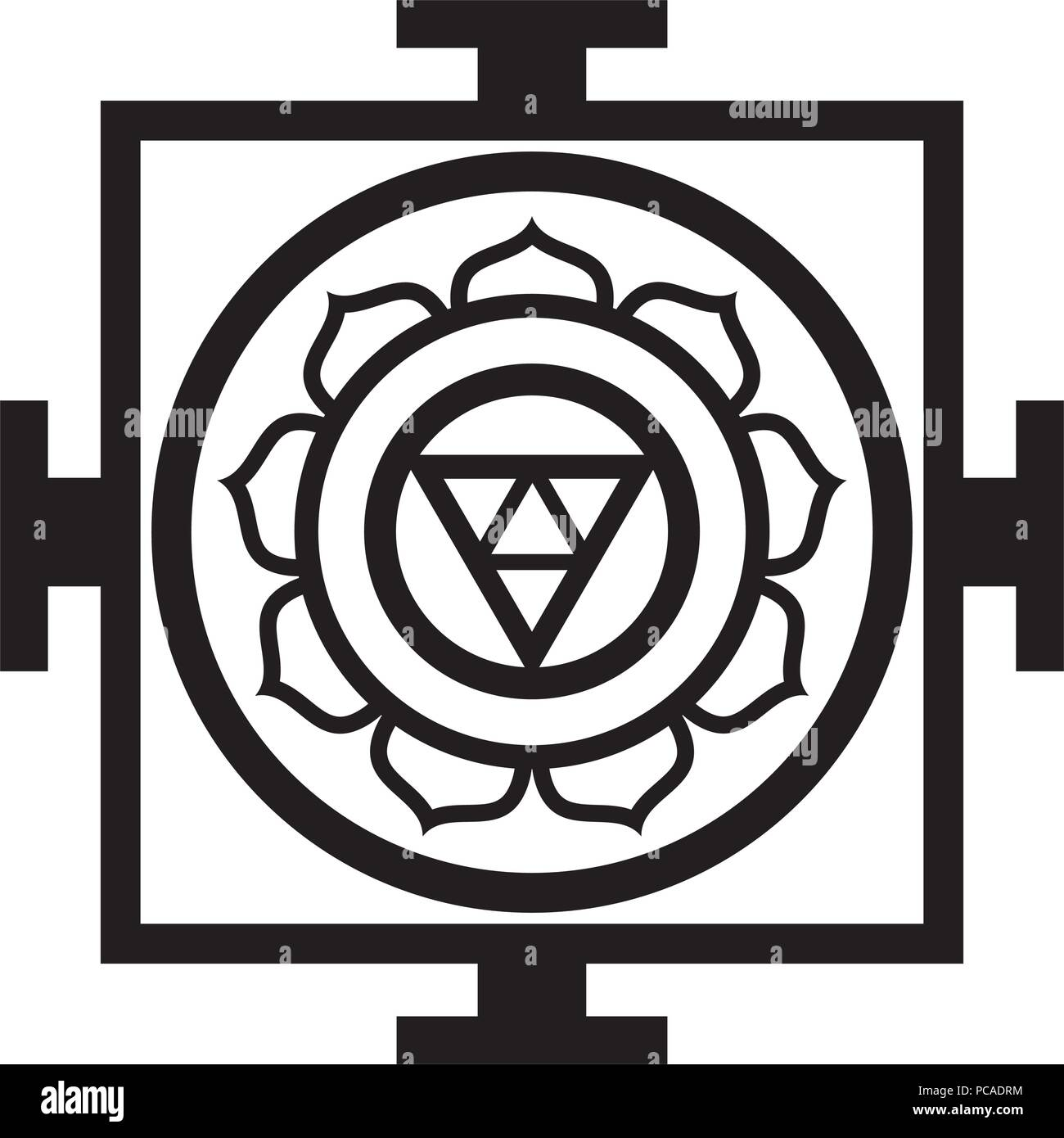 Mandala — sacred space, spiritual and ritual symbol in Buddhism, representing sacral model of the structure of Universe, the chart of Cosmos. - Stock Vector