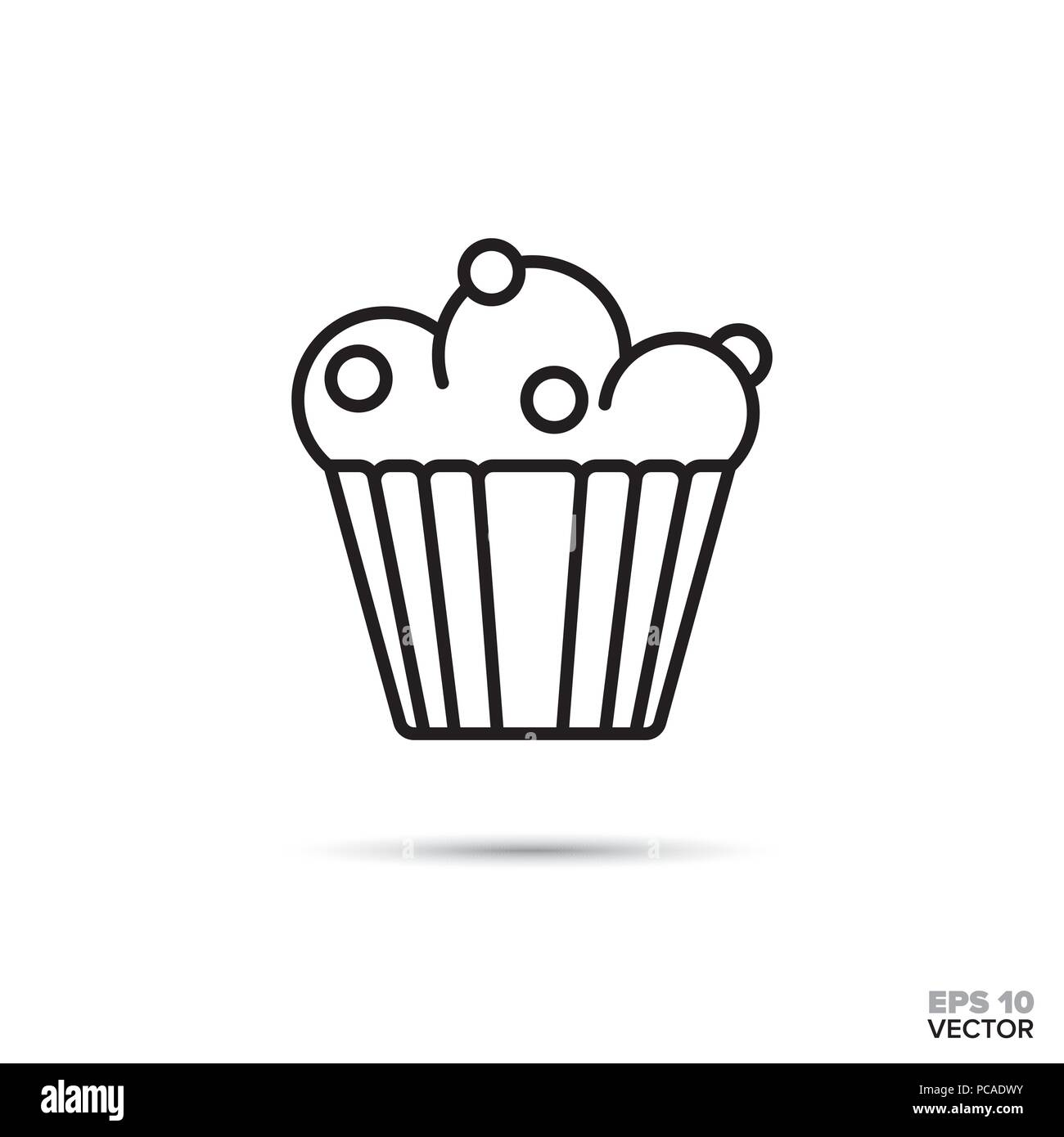 Blueberry Muffin Cupcake Vector Line Icon Sweet Food Symbol Stock
