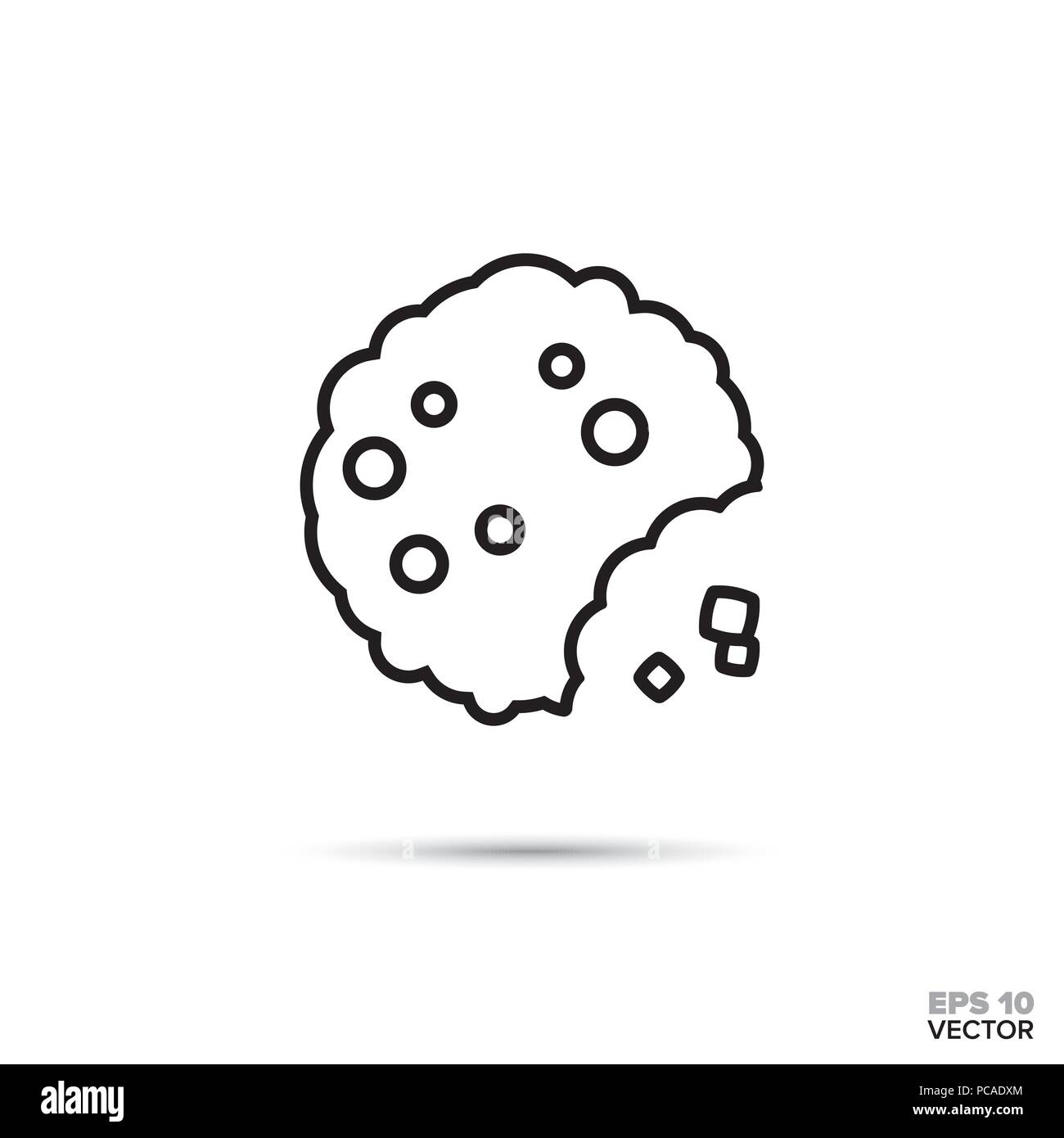 Bitten chocolate chip cookie with crumbles vector line icon. Sweet food symbol. - Stock Image