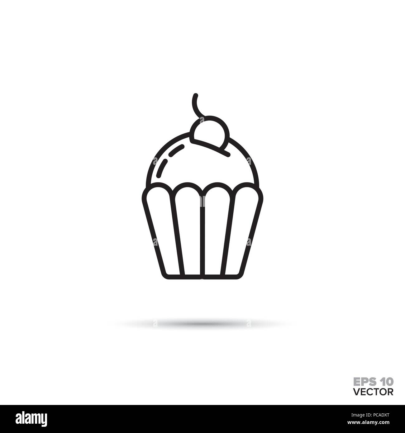 Cupcake With Cherry On Top Vector Line Icon Sweet Food Symbol Stock
