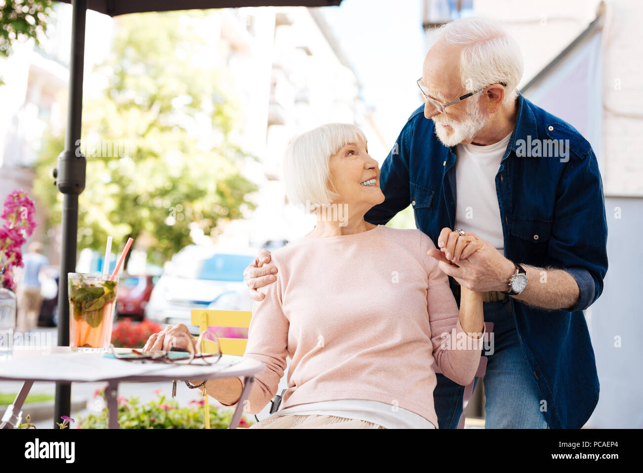 Attractive senior man and woman having date Stock Photo