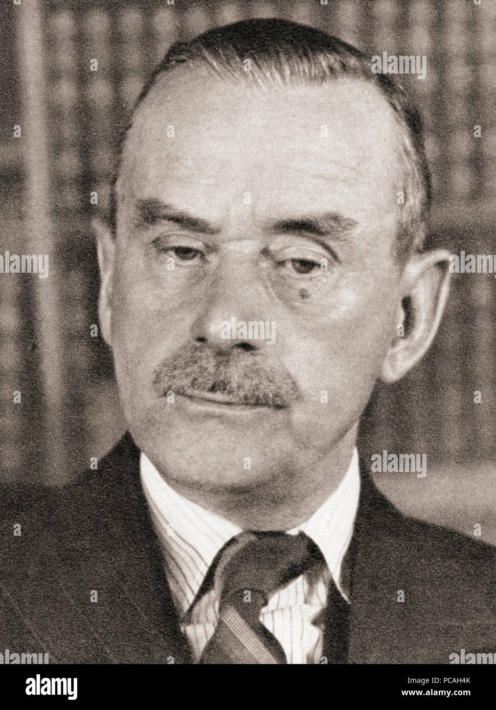 Paul Thomas Mann, 1875 – 1955.  German novelist, short story writer, social critic, philanthropist, essayist, and the 1929 Nobel Prize in Literature laureate. After a contemporary print. - Stock Image