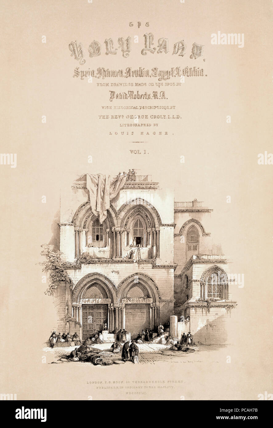Title page of the 1842 edition of the first volume of The Holy Land by Scottish artist David Roberts, 1796-1864, and Belgian lithographer Louis Haghe, 1806-1885. - Stock Image