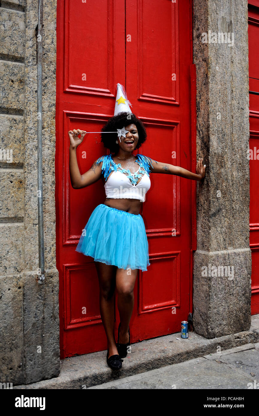 Brazil - February 26, 2017: Reveler dressed up as a fairy godmother smiles for the camera at a carnival street party in Rio de Janeiro Stock Photo