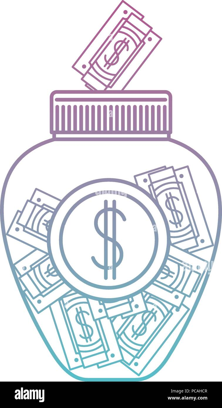 jar with bills money - Stock Image