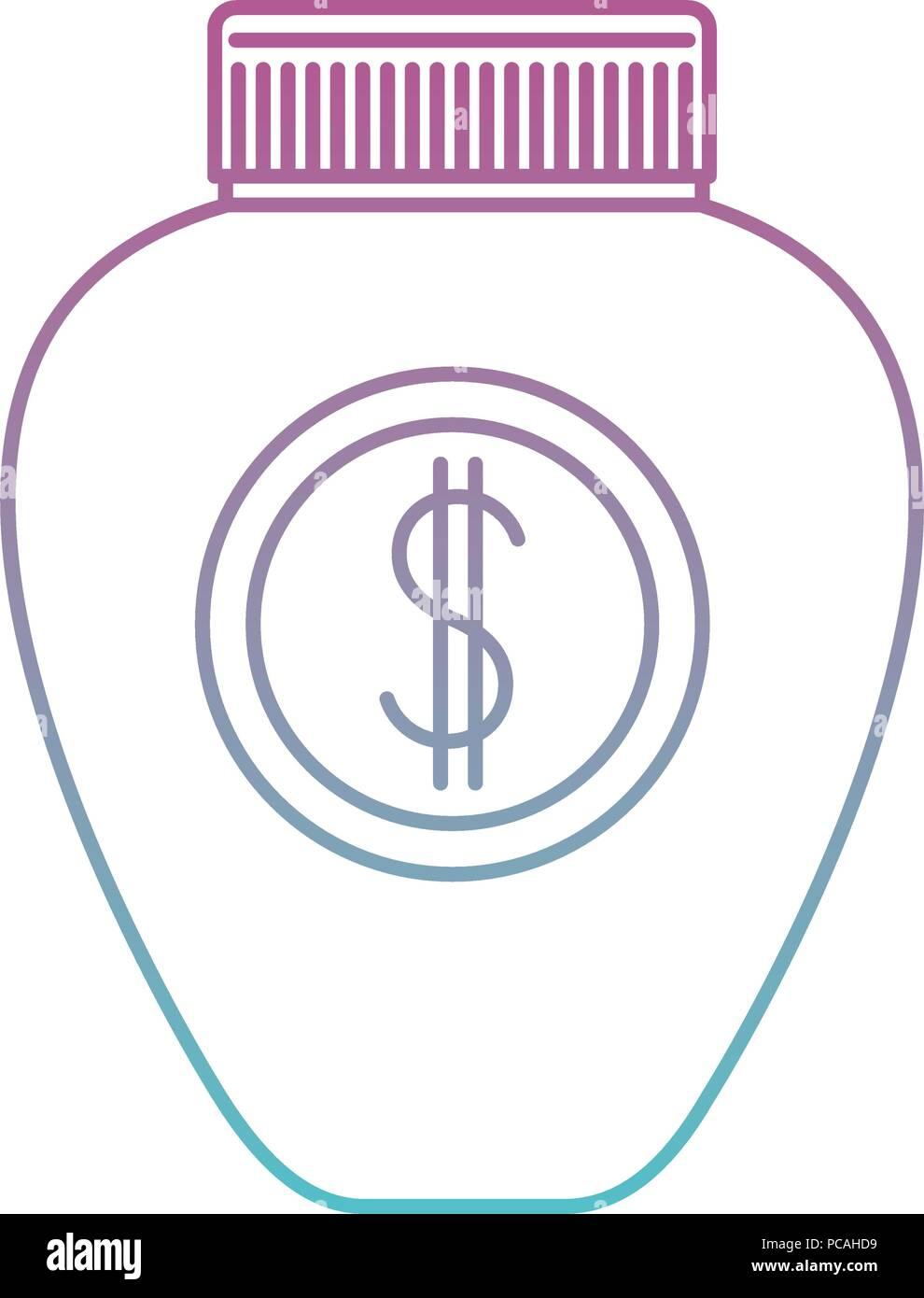 jar with money symbol - Stock Image
