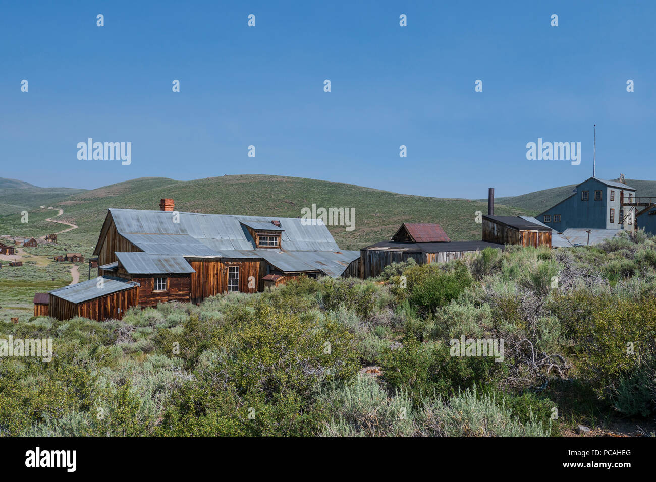 Wooden and tin mine buildings, Bodie ghost town, Bodie State Historic Park, California. Stock Photo