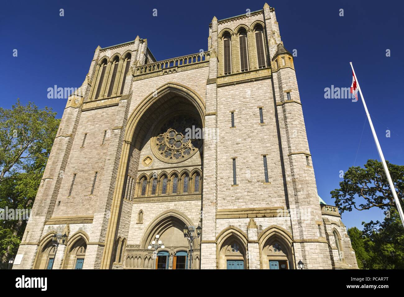 Christ Church Cathedral, Anglican Church Building Exterior in Victoria BC City Center on Vancouver Island - Stock Image
