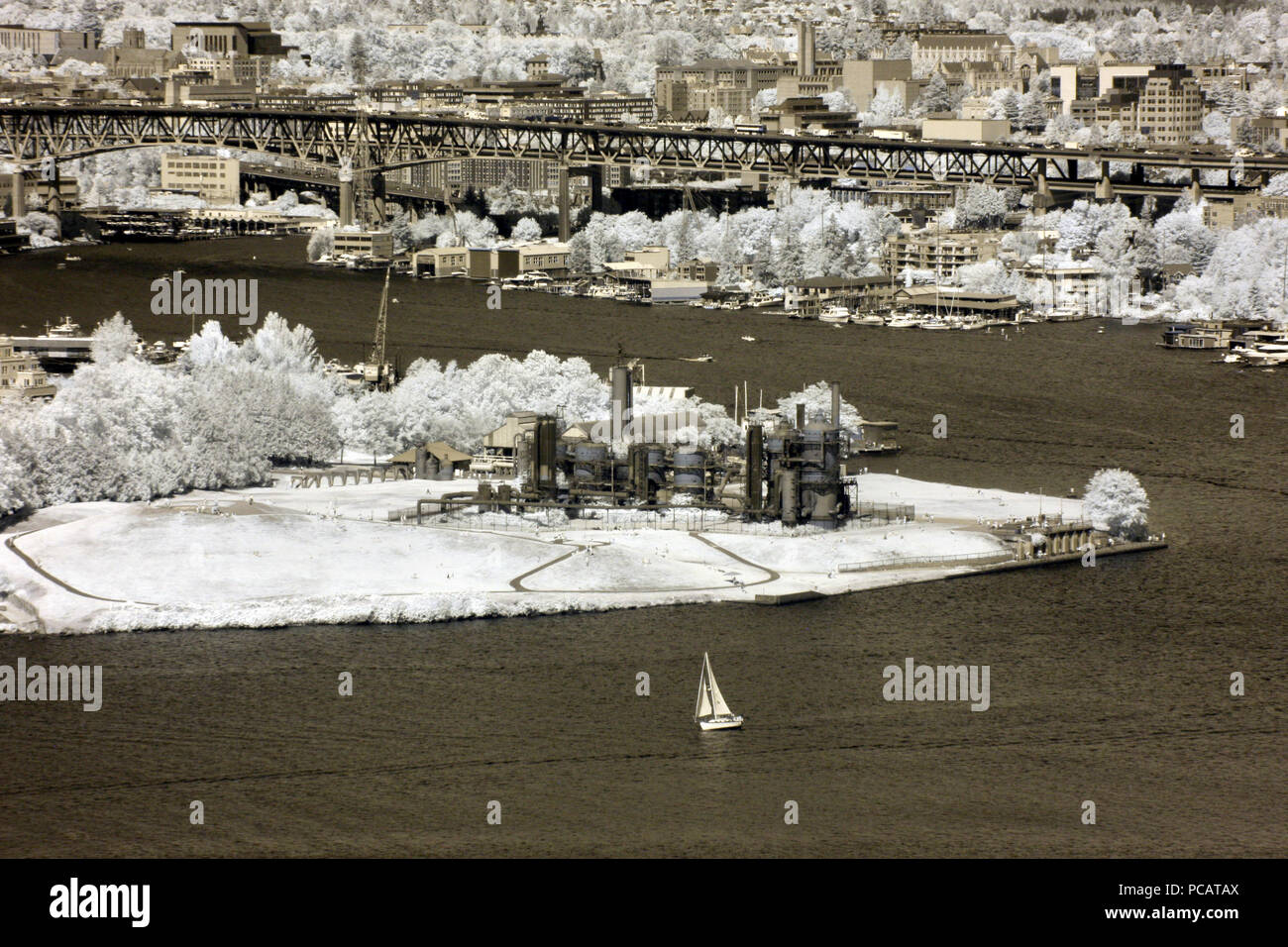 View of Lake Union and Gas Works park, Seattle. - Stock Image