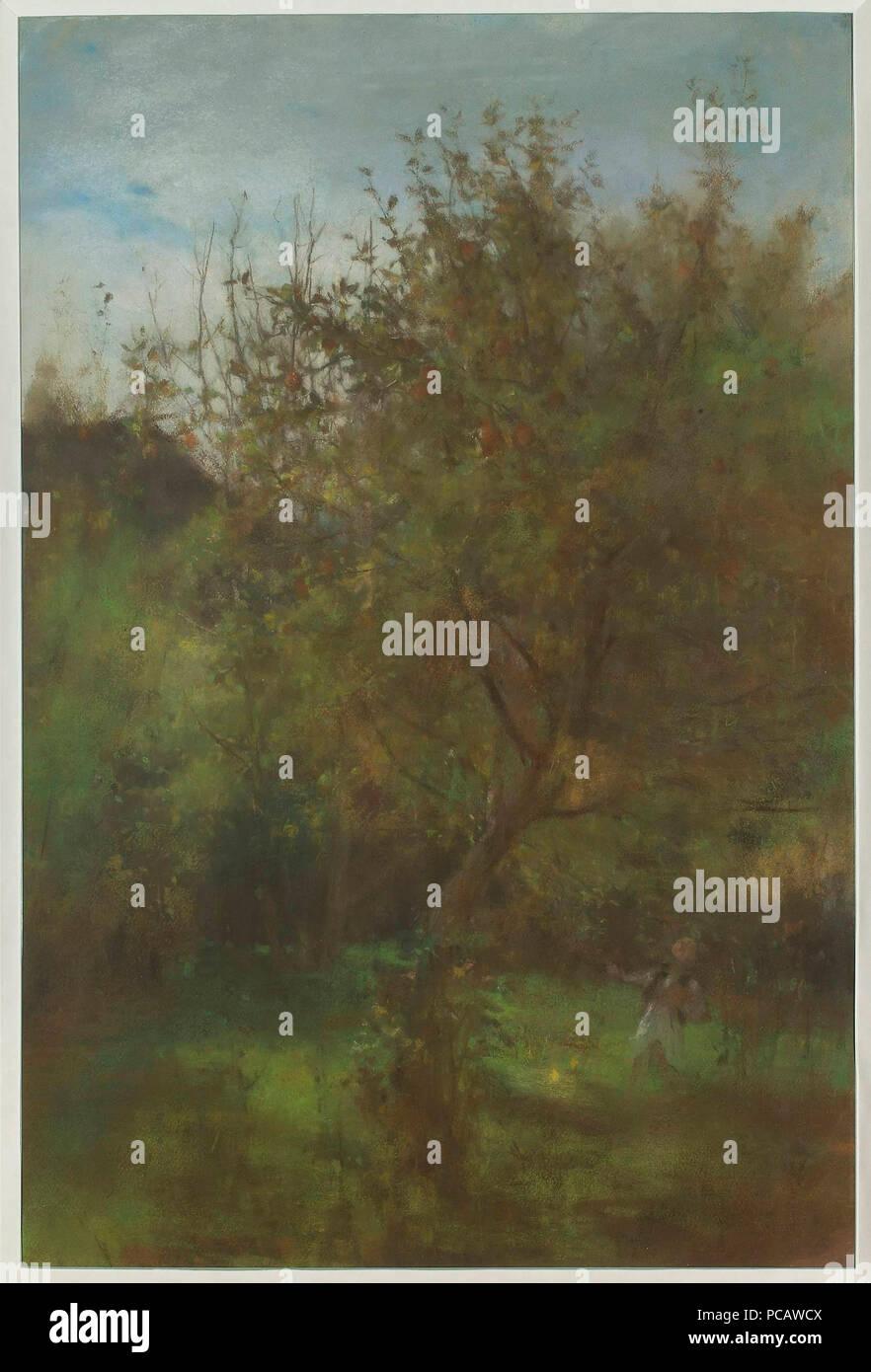 63 Witold Pruszkowski - Sad - Chłopiec pod jabłonią Stock Photo