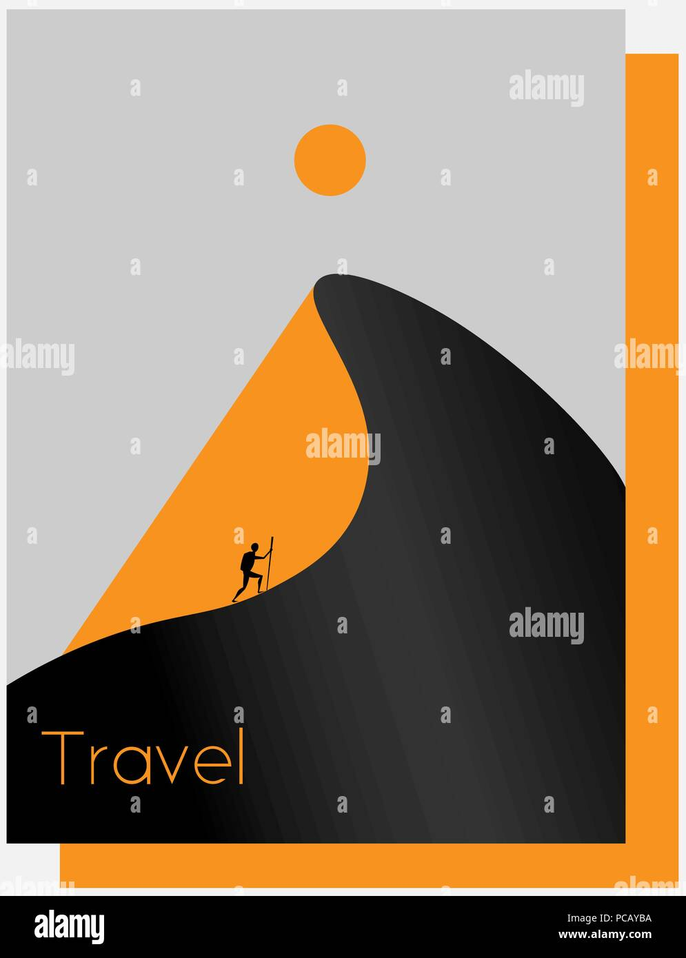 abstract desert, mountain, sun, traveler, tourism minimalist logo - Stock Vector