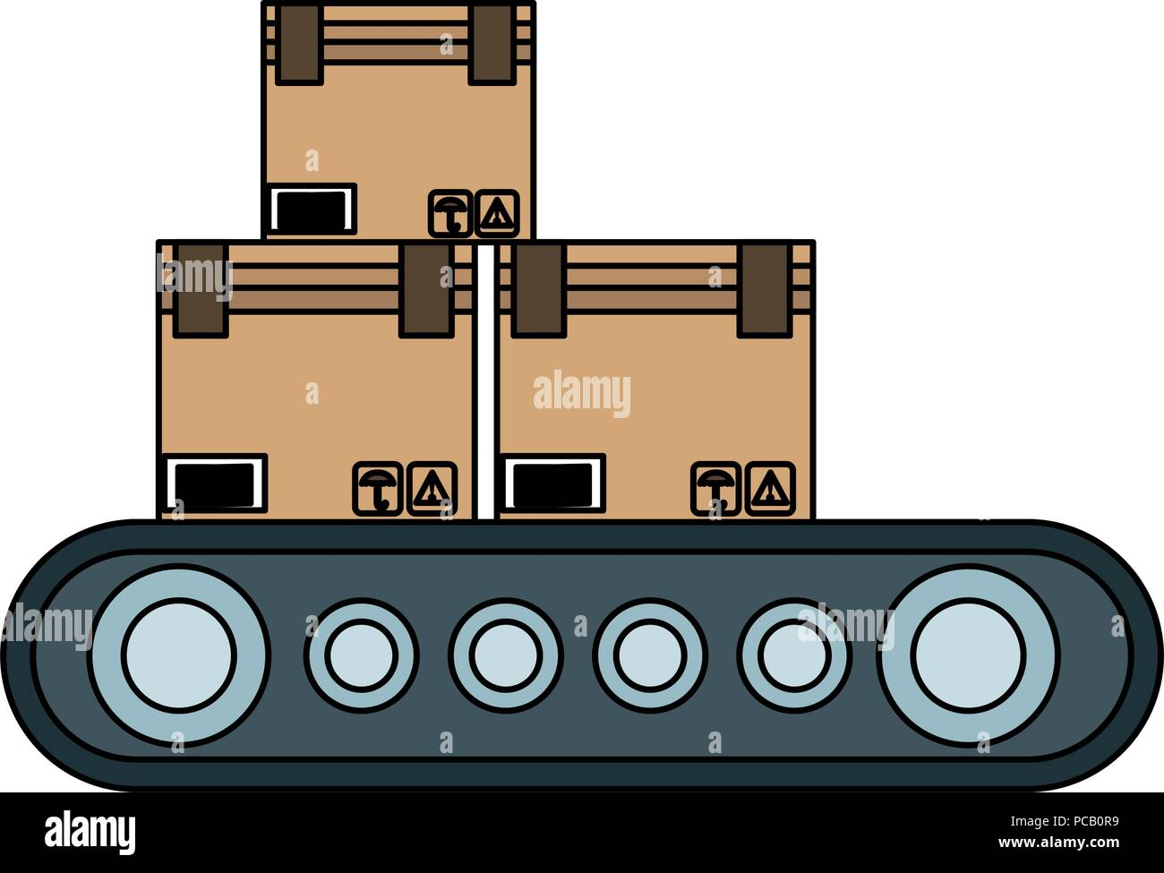 Boxes on conveyor tape - Stock Vector
