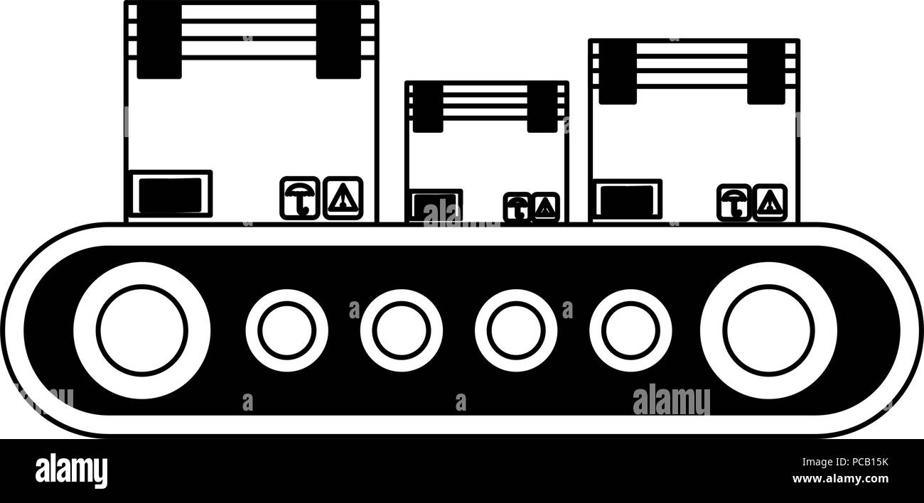 Boxes on conveyor tape in black and white - Stock Vector