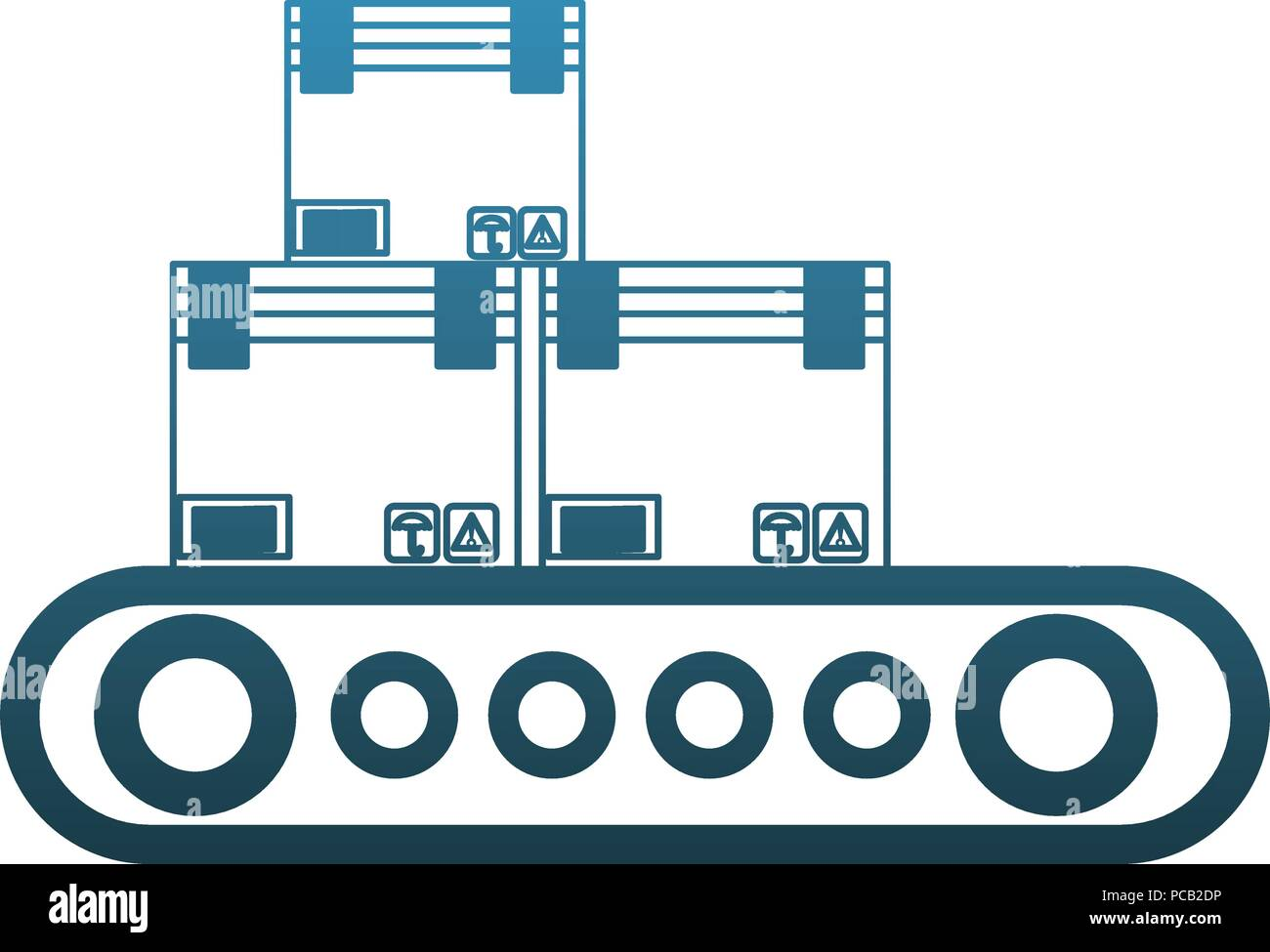 Boxes on conveyor tape blue lines - Stock Vector