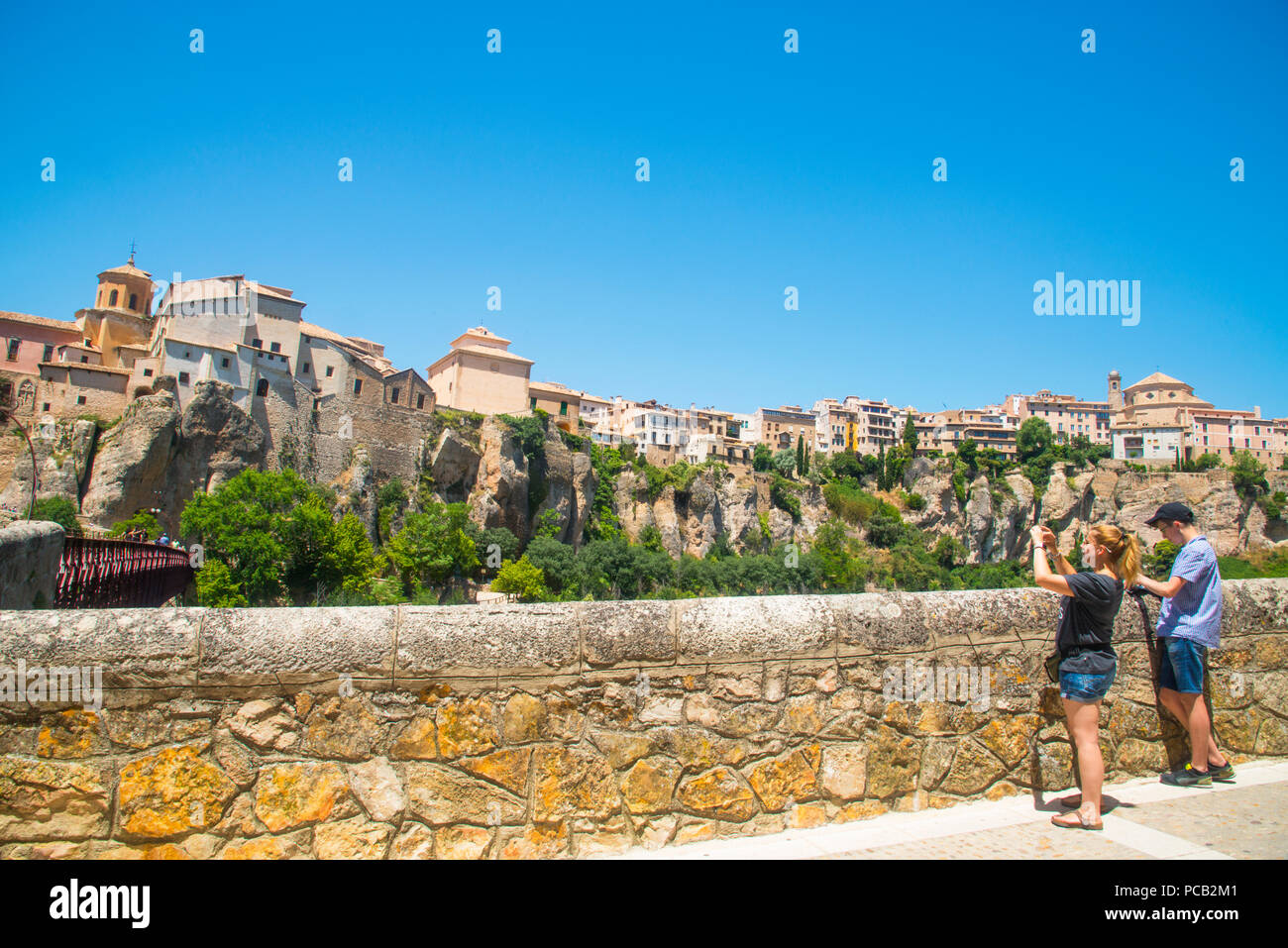 Tourists taking photos of the city. Cuenca, Spain. - Stock Image