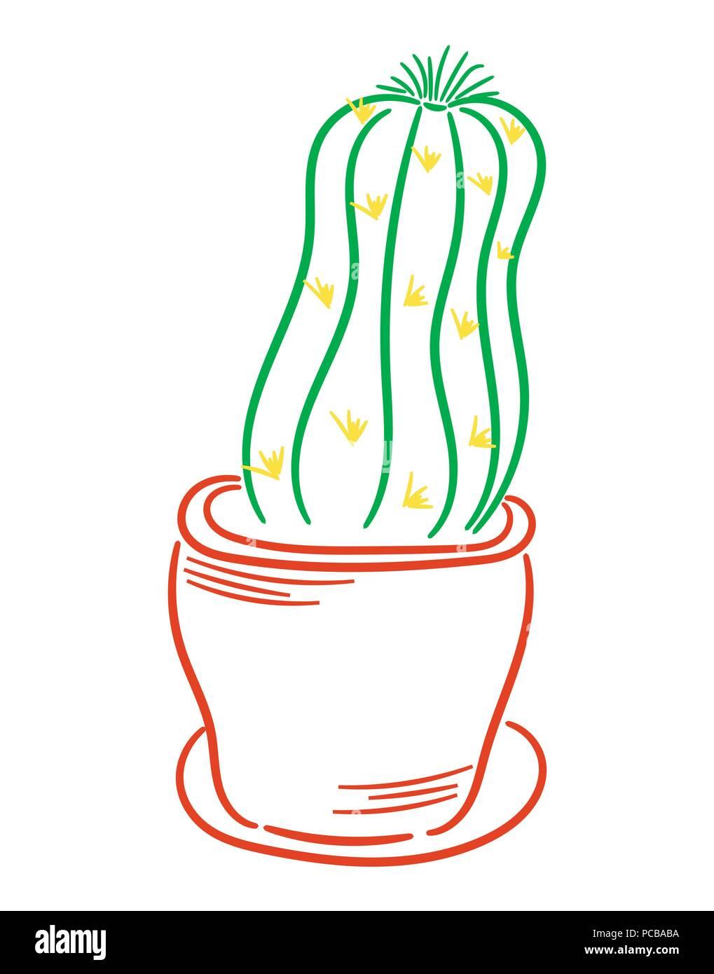 cactus in a pot vector - Stock Image