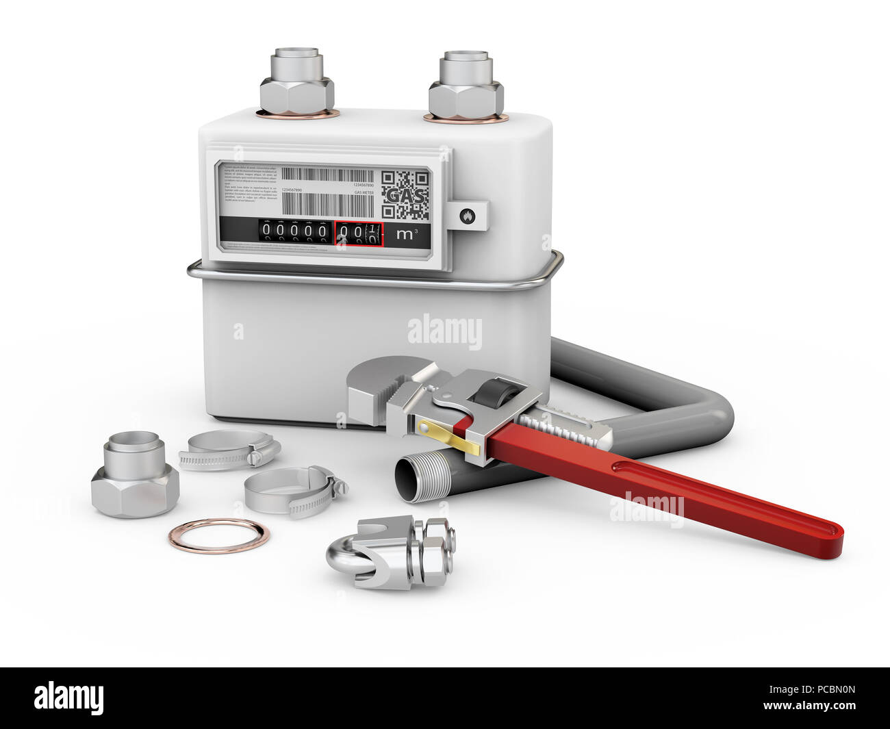 3d illustration of gas meter with tools isolated white. - Stock Image