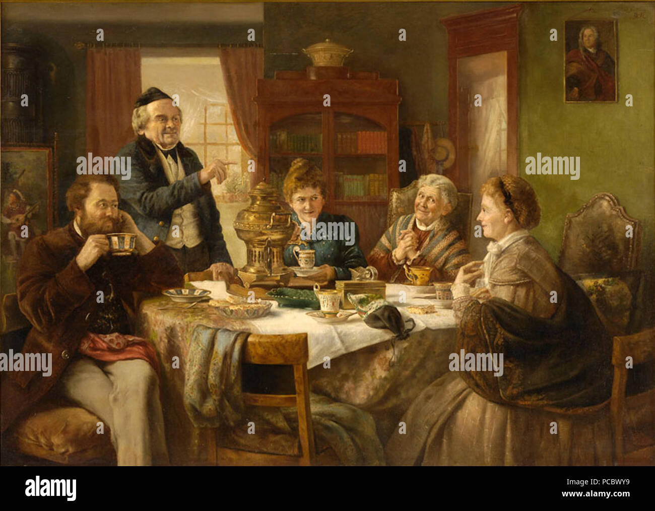 43 Otto Goldmann Eine gesellige Runde 1887 - Stock Image