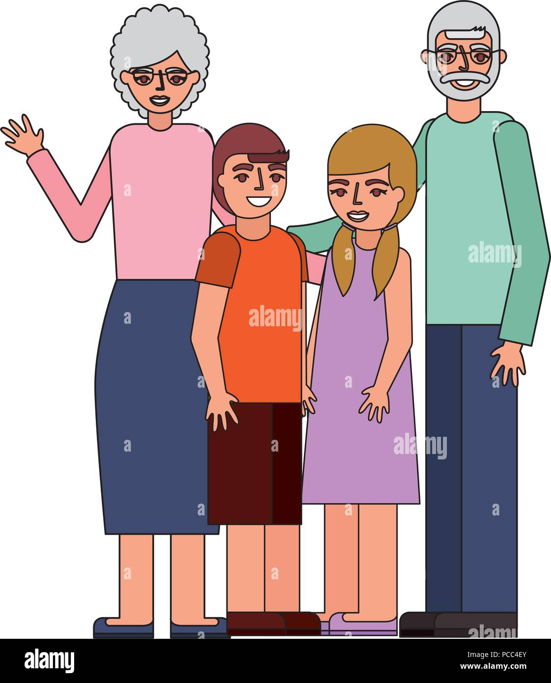 grandparents with grandson and granddaughter vector illustration - Stock Vector