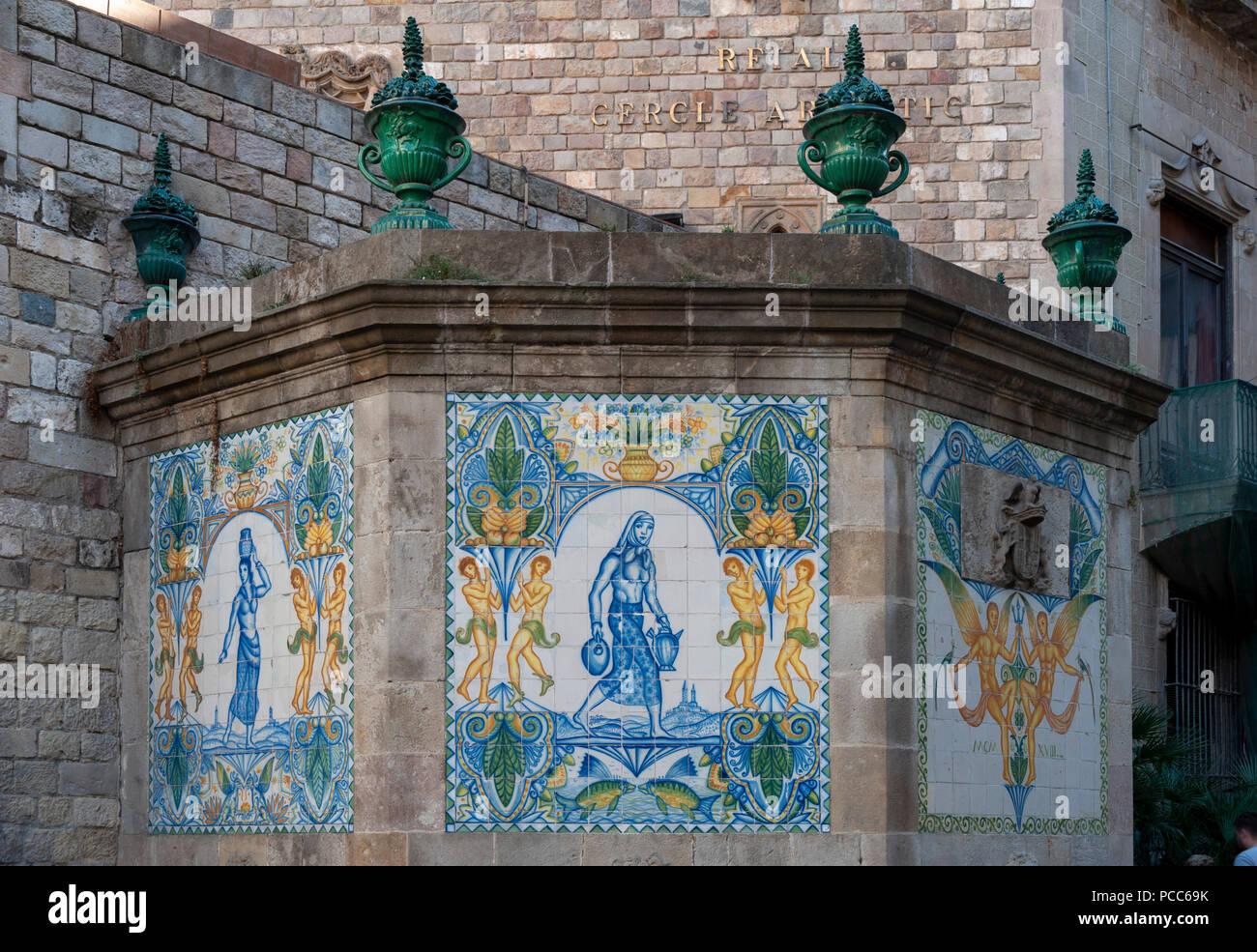 Barcelona Fuente Santa Ana Der Alteste Brunnen Barcelonas Von 1356