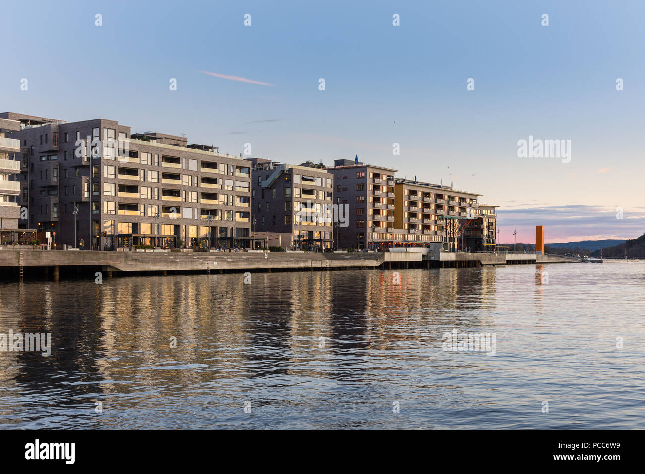 Typical example of Scandinavian architecture in the Bjørvika area in Oslo, Norway - Stock Image