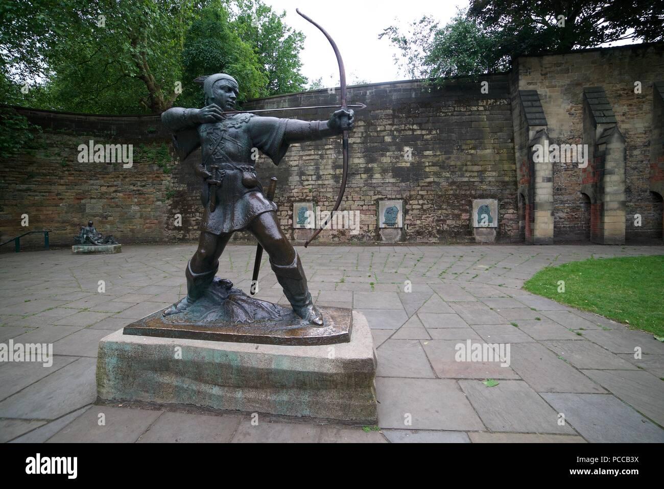 The Robin Hood statue in Nottingham City Centre (Castle Road, Nottingham, Nottinghamshire, United Kingdom) - Stock Image