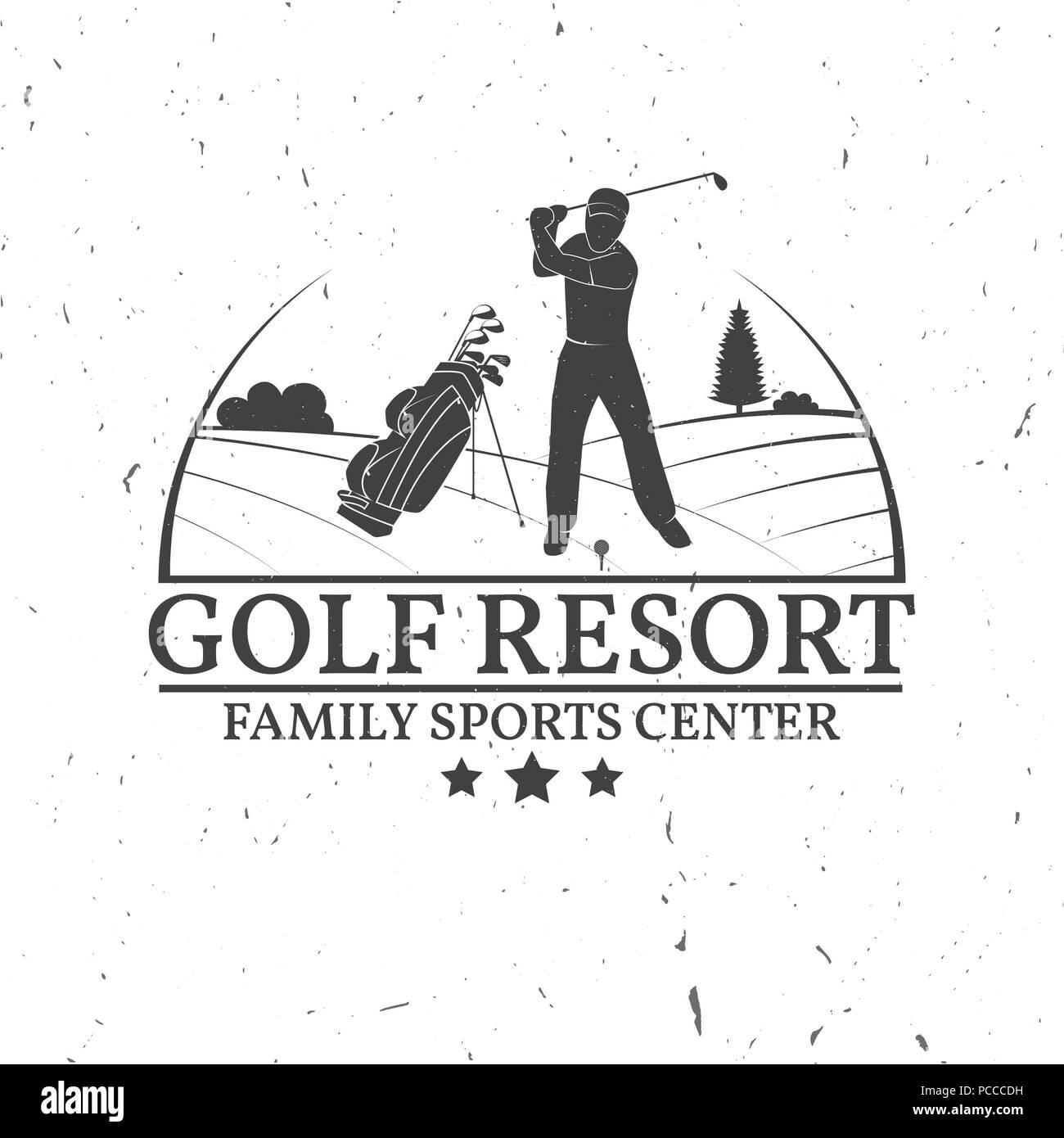 Golf Club Concept With Golfer Silhouette Vector Golfing Club Retro
