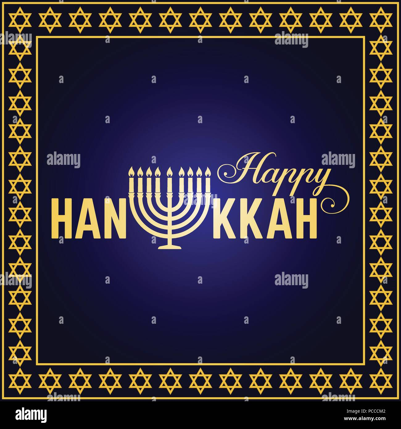 Happy Hanukkah Greeting Card Typography Design Candlestick With