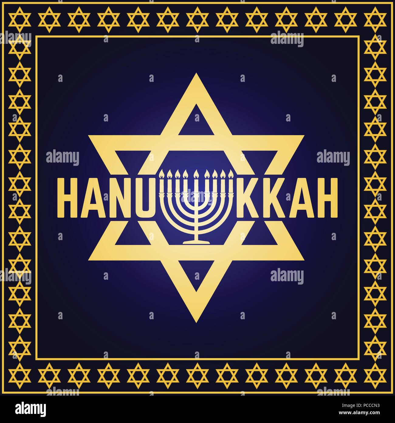 Happy Hanukkah greeting card. Typography design. Candlestick with nine candles. Vector illustration. Card with text and Hanukkah menorah. Concept for  Stock Vector