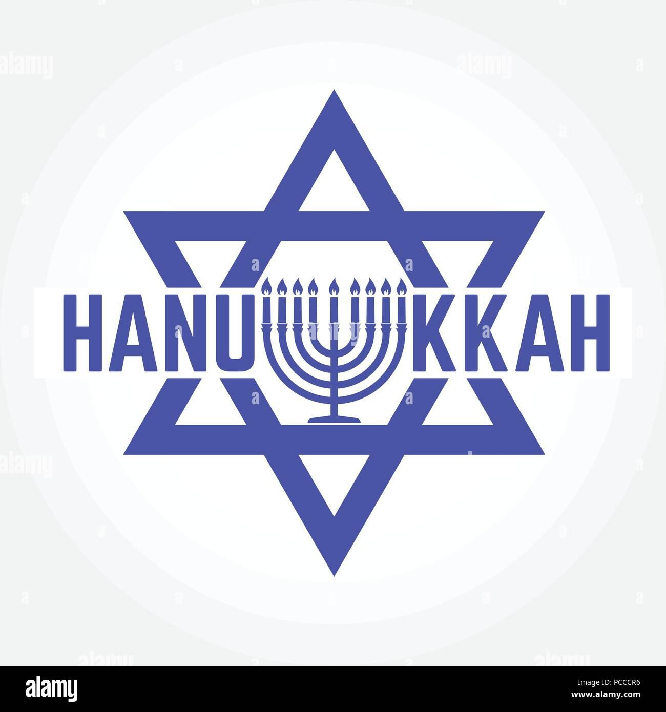 Happy Hanukkah greeting card. Typography design. Candlestick with nine candles. Vector illustration. Card with lettering text and Hanukkah menorah. Co - Stock Vector