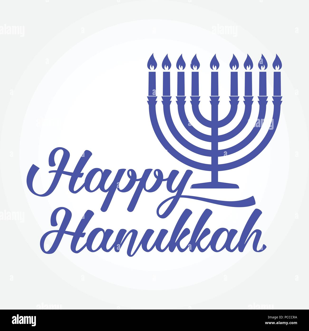 Happy hanukkah greeting card typography design candlestick with happy hanukkah greeting card typography design candlestick with nine candles vector illustration card with lettering text and hanukkah menorah co m4hsunfo