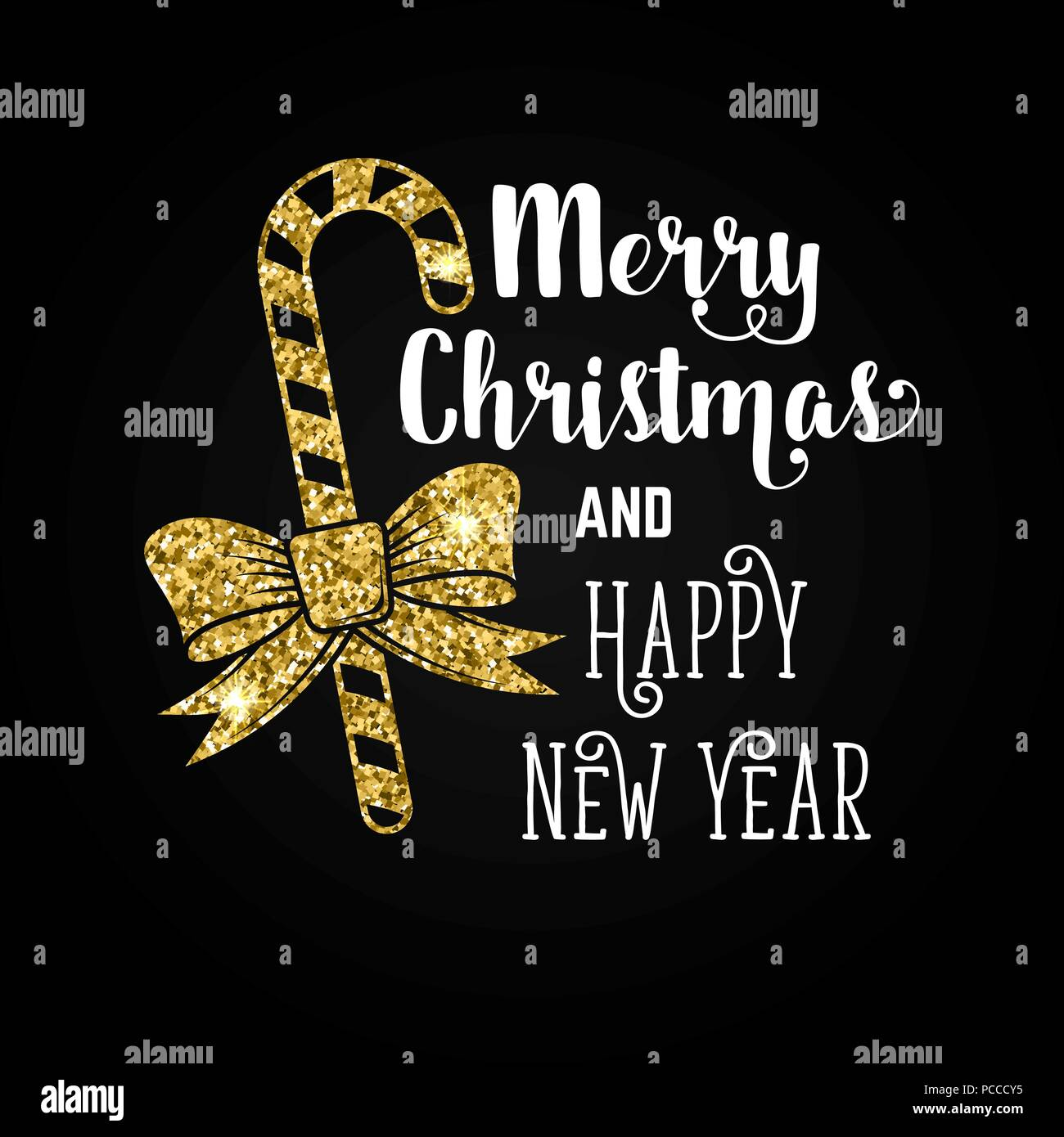 merry christmas and happy new year typography design vector