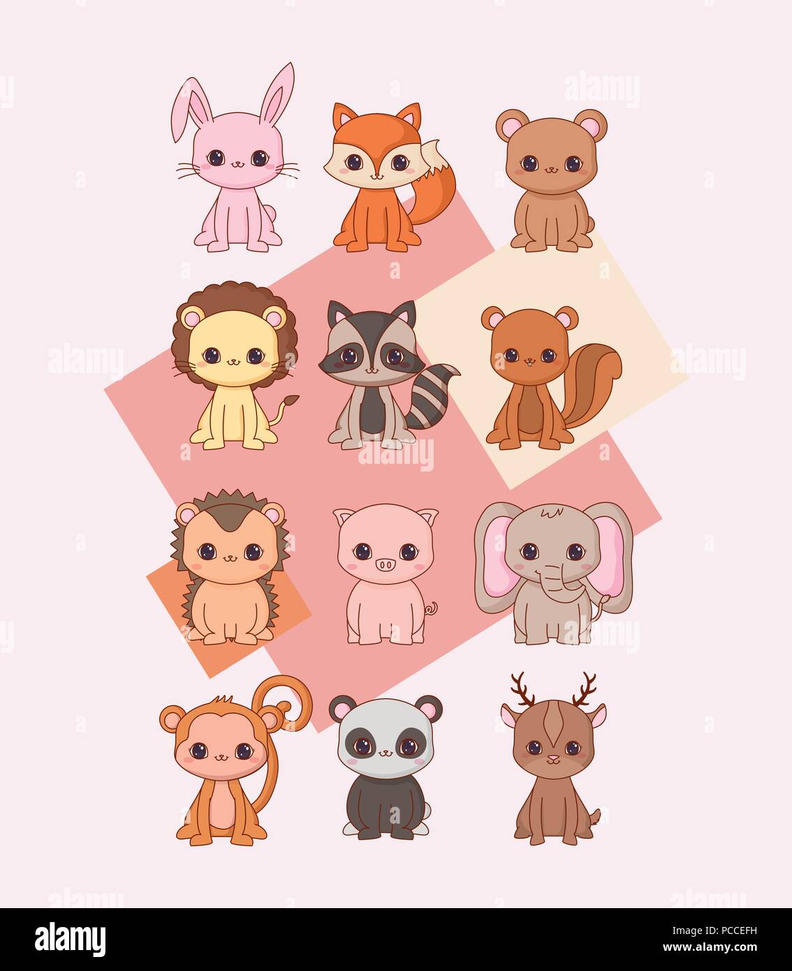 Image of: Pink Background Kawaii Animals Icon Set Over Pink Background Colorful Design Vector Illustration Alamy Kawaii Animals Icon Set Over Pink Background Colorful Design
