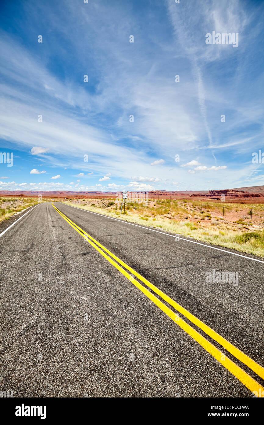 U.S. Route 163, scenic deserted road, travel concept, USA. - Stock Image