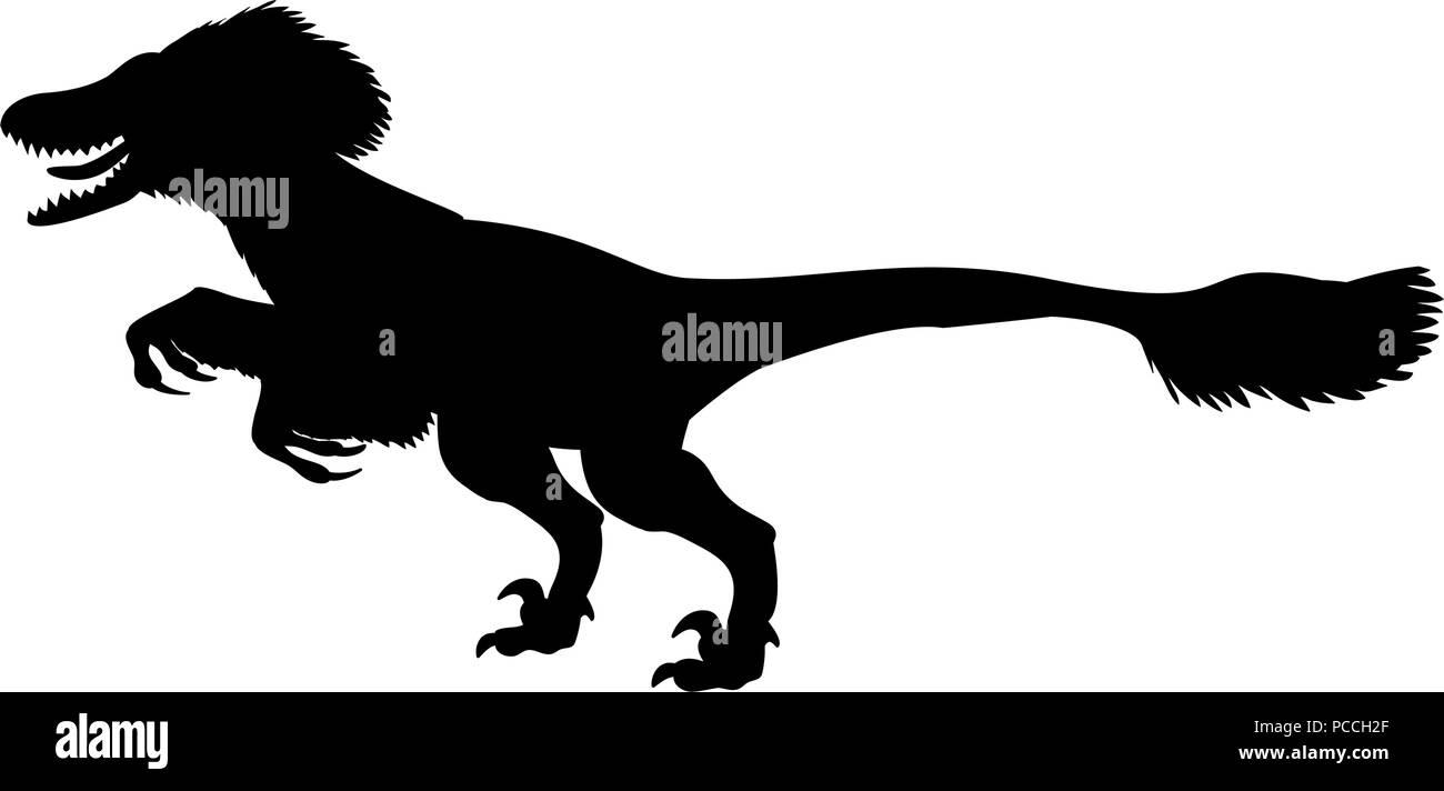 Deinonychus silhouette dinosaur jurassic prehistoric animal - Stock Image