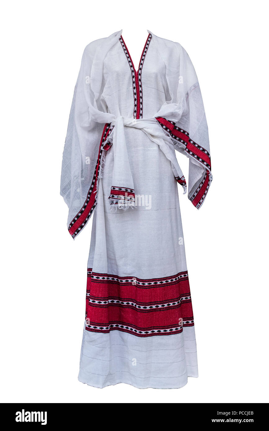 Women Traditional Ethiopian dress made from Gabi in Addis Ababa, Ethiopia - Stock Image