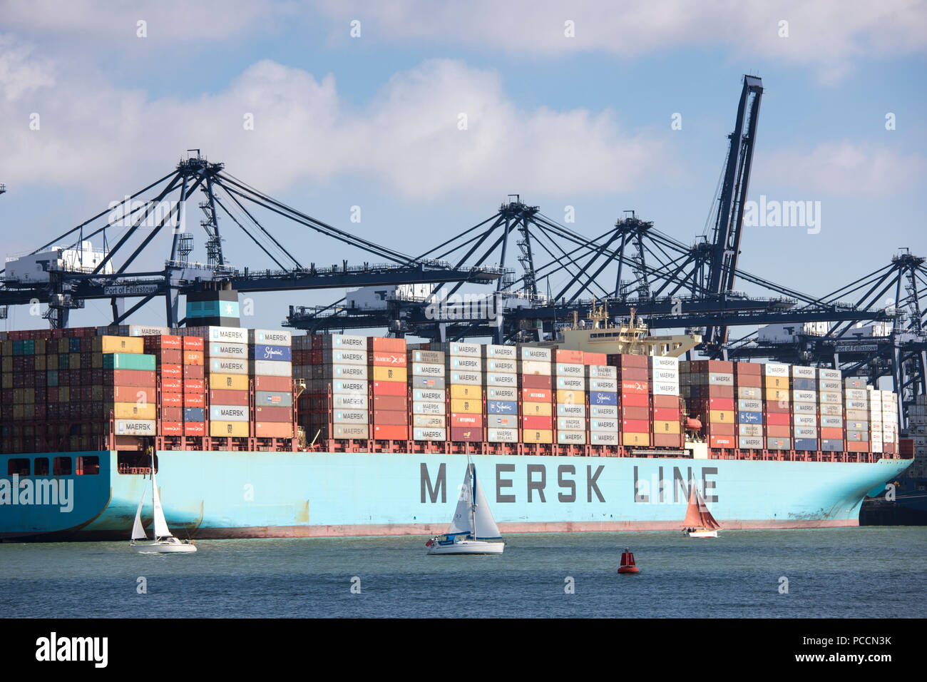 Foreign container ships at Port of Felixstowe handling 42% of British containerised trade under pre Brexit free trade agreement rules - Stock Image