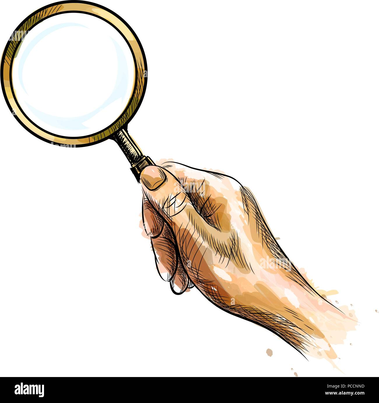 Hand holding magnifying glass - Stock Vector