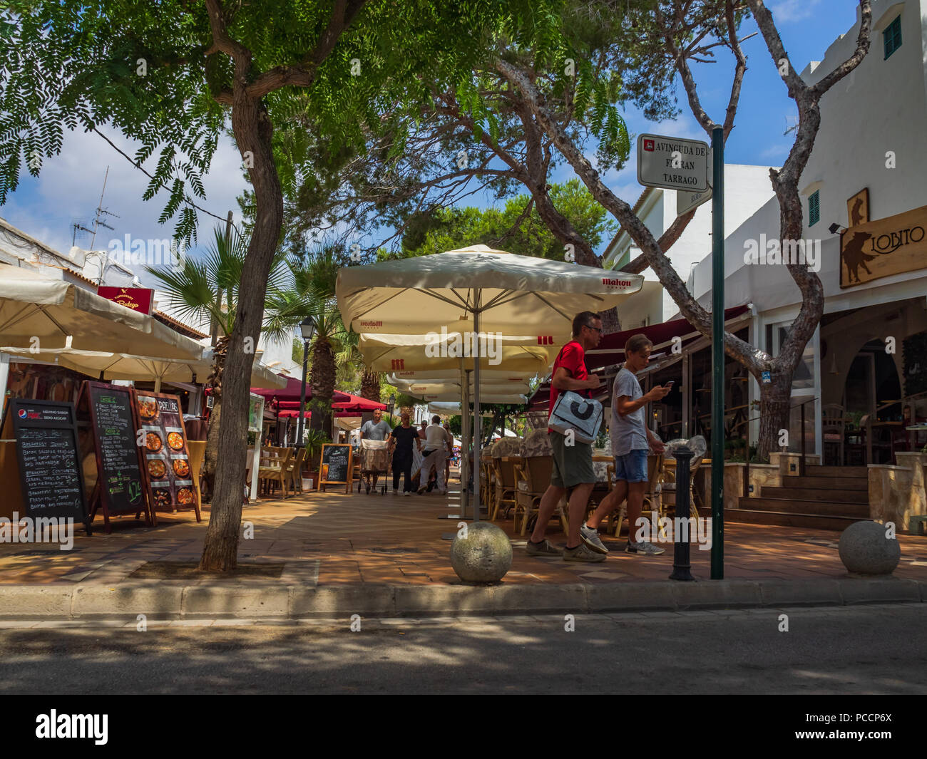 Cala d'Or town centre bars and restaurants - Stock Image