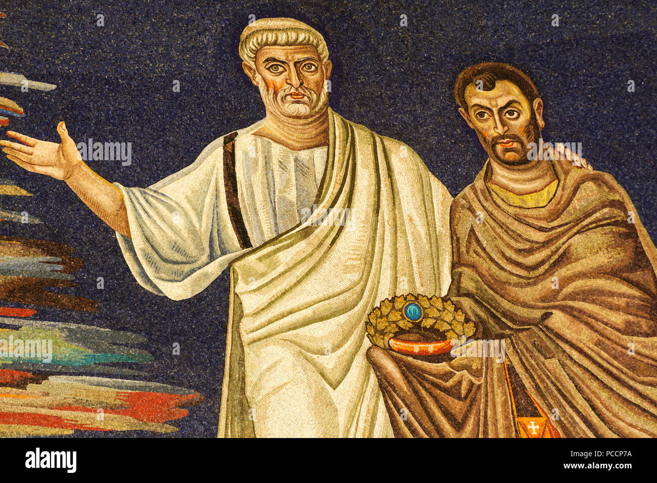 St Peter presenting St Cosmas - Detail of the 6th century apse mosaic (530 AC), Masterpiece of the early Christian Art, Basilica of SS Cosma e Damiano Stock Photo