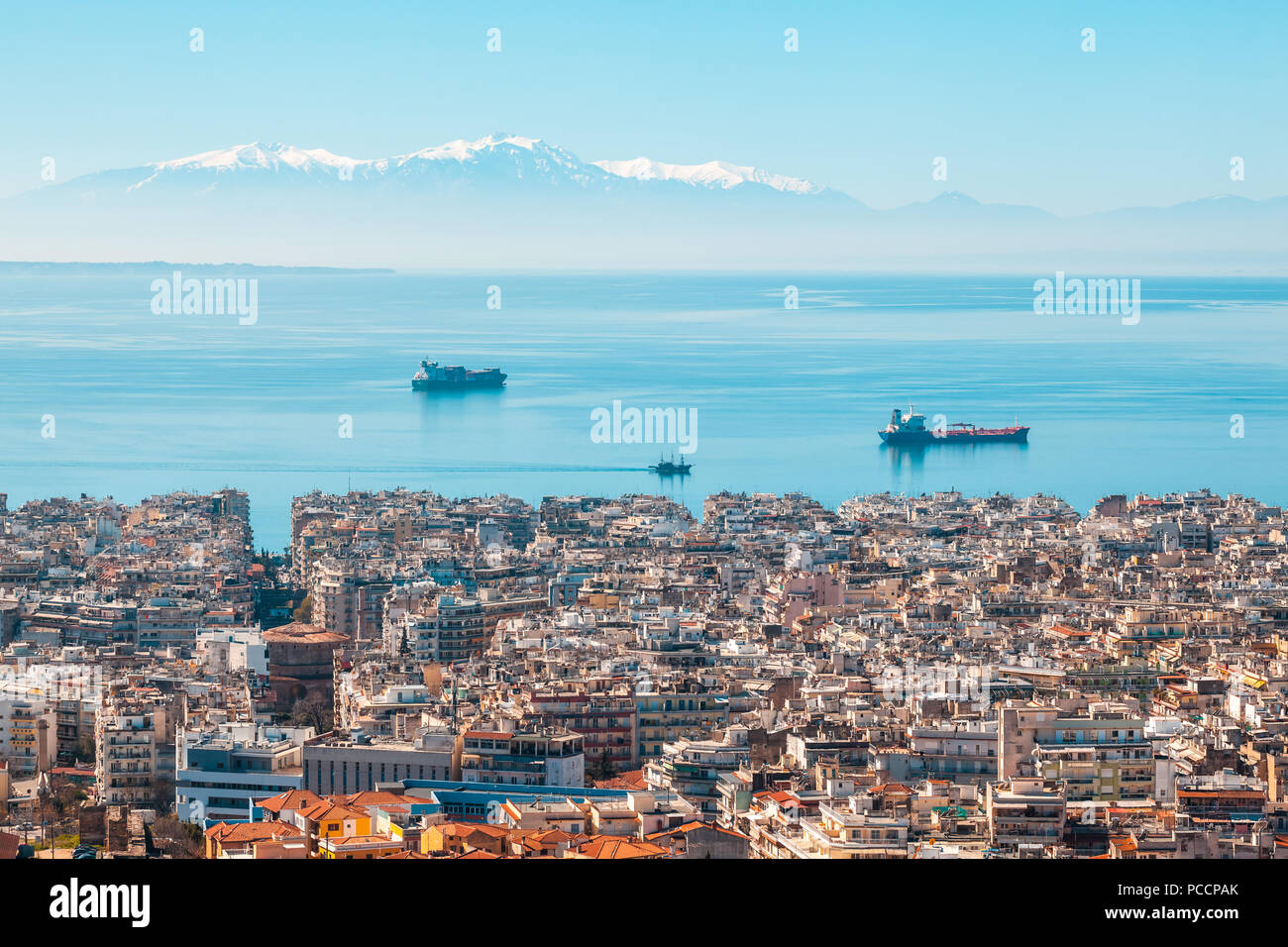 View of Thessaloniki city, the sea, ships and the olympous