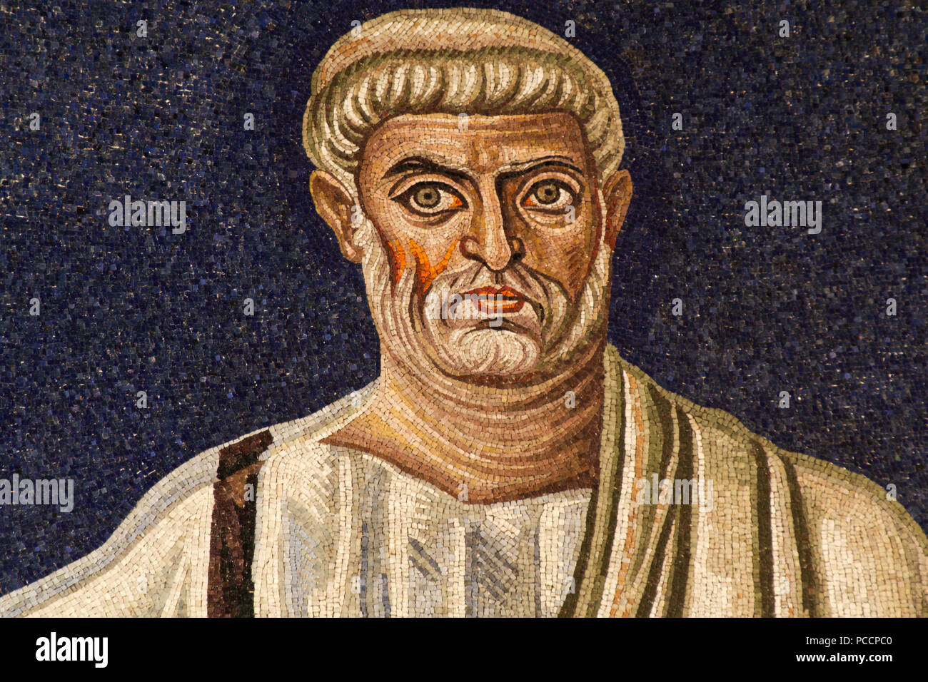 Saint Peter - Detail of the 6th century apse mosaic (530 AC) - Masterpiece of the early Christian Art - Basilica of Santi Cosma e Damiano - Rome Stock Photo