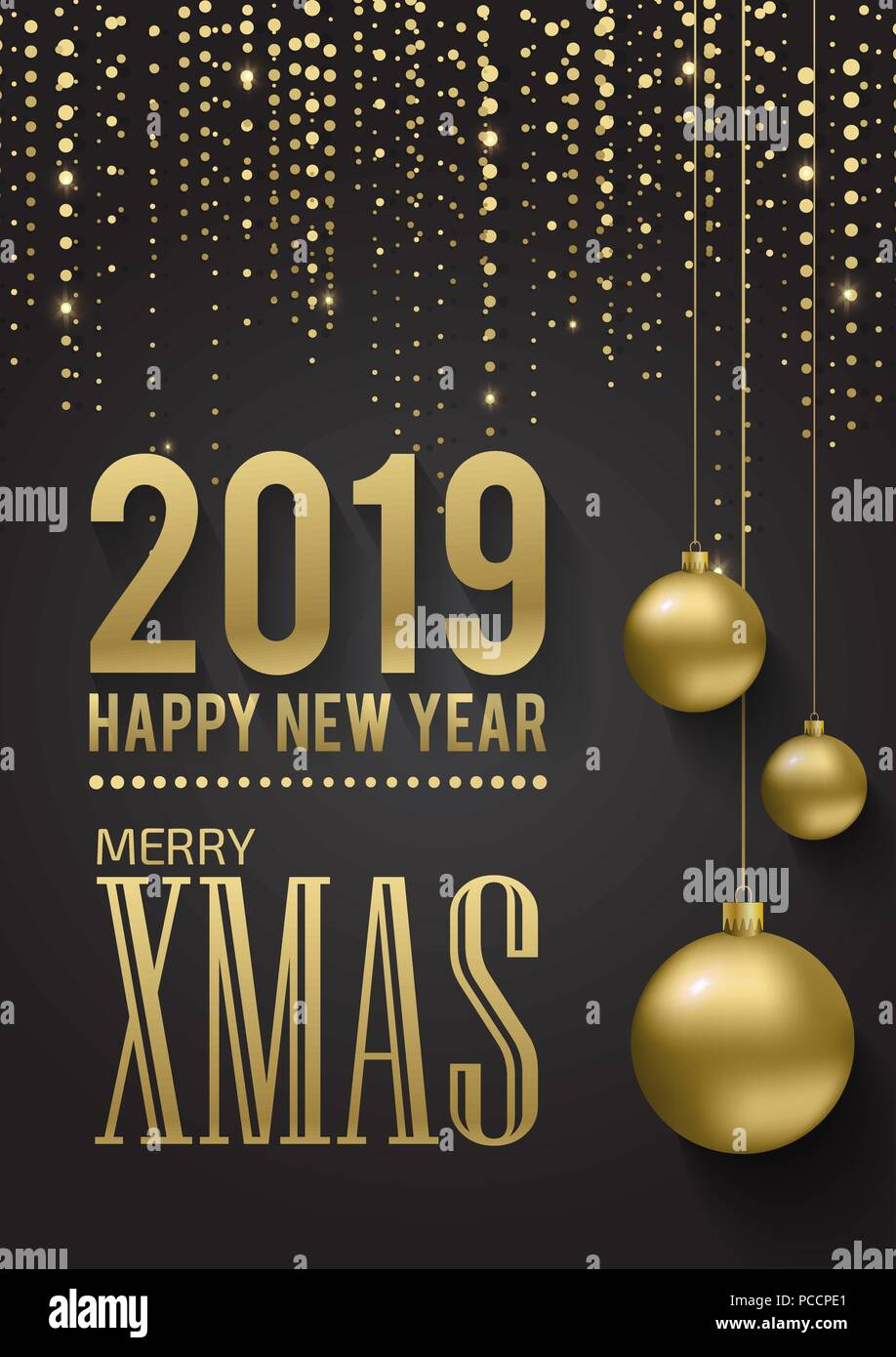 greeting card invitation with happy new year 2019 and christmas metallic gold christmas balls decoration shimmering shiny confetti on a black bac