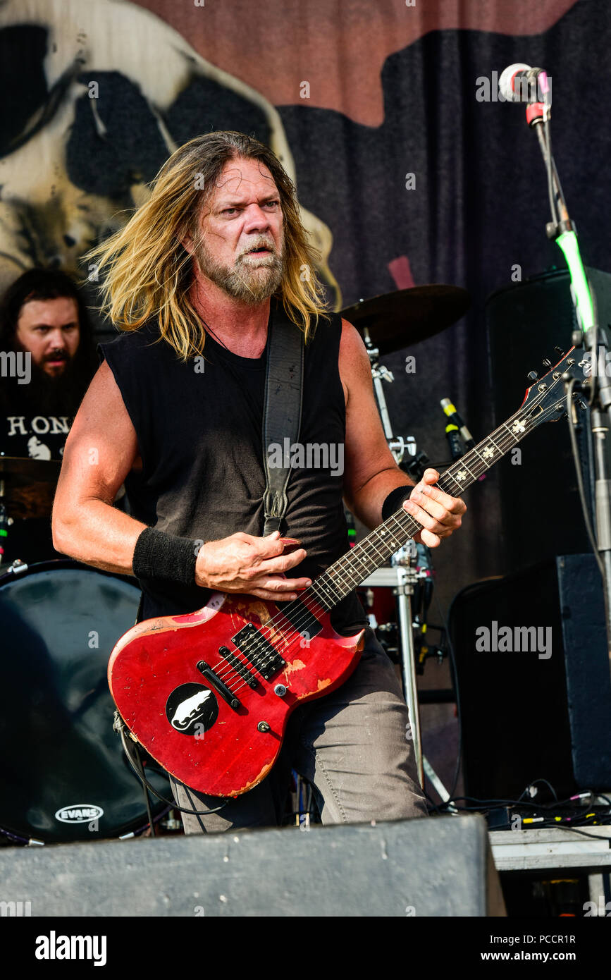Mansfield, Ohio, July 15, 2018. Pepper Keenan, Corrosion of Conformity on stage at Inkarceration Fest 2018. Credit: Ken Howard/Alamy - Stock Image