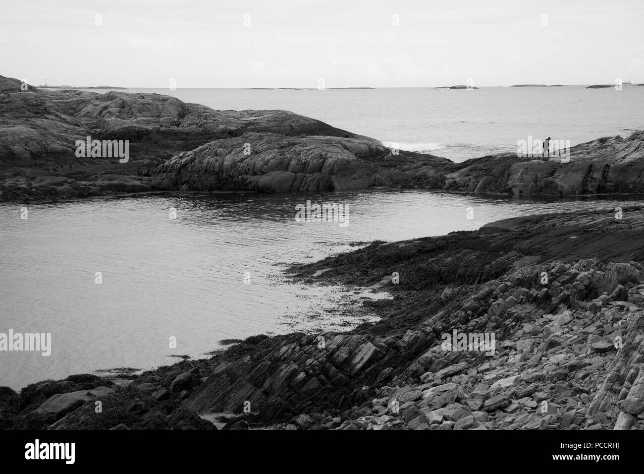 Rocks view on the coast of famous Atlantic Ocean Road -  Atlanterhavsveien , More og Romsdal county, Norway. - Stock Image
