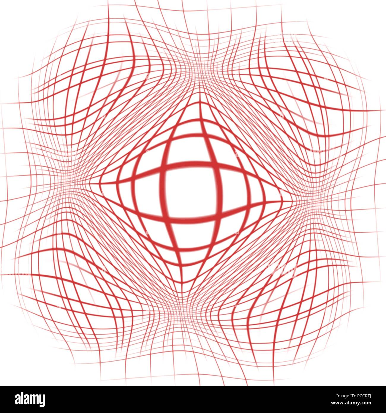 red abstract warped grid background pattern, vector illustration - Stock Image