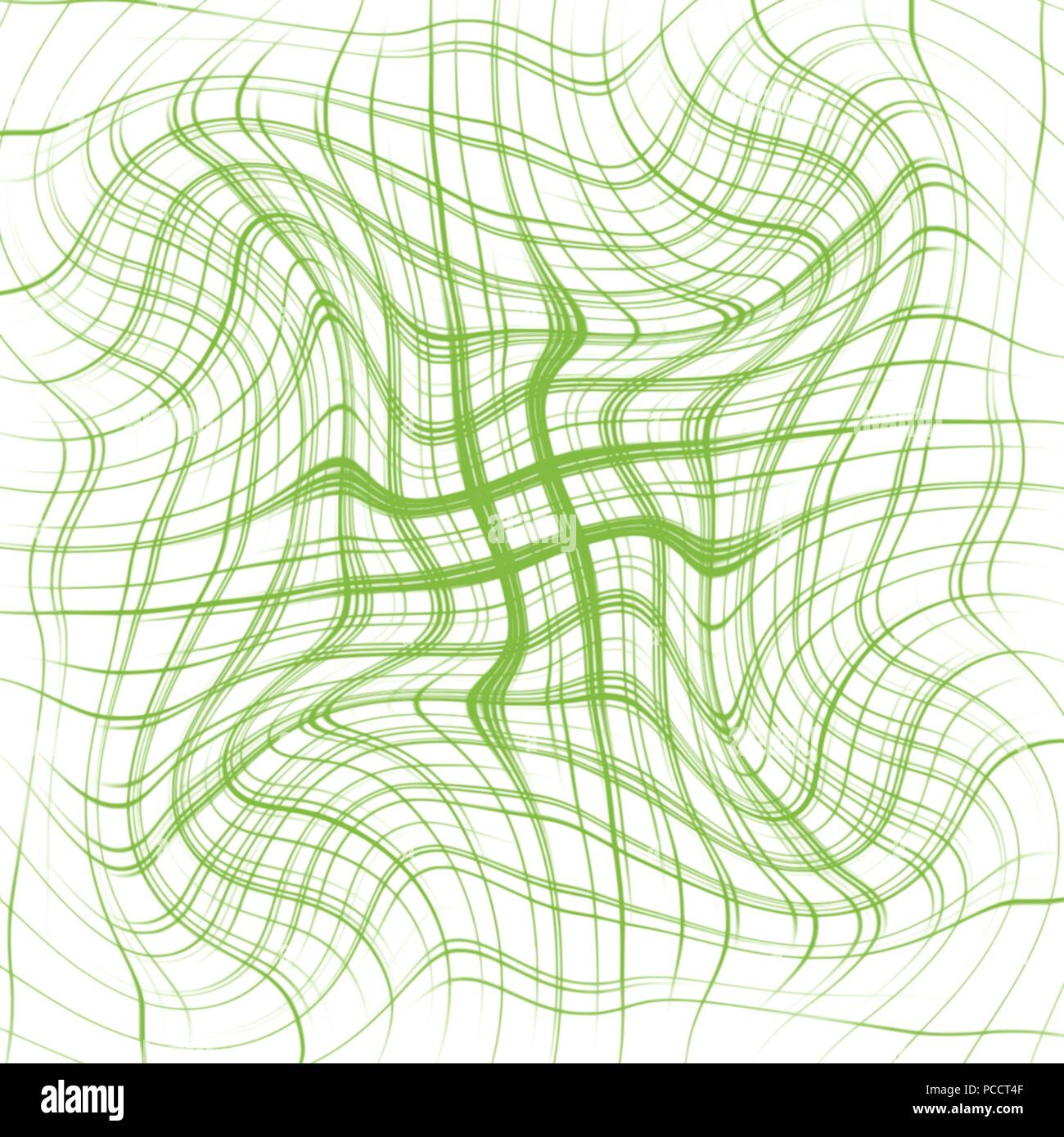 green abstract warped grid background pattern, vector illustration - Stock Image