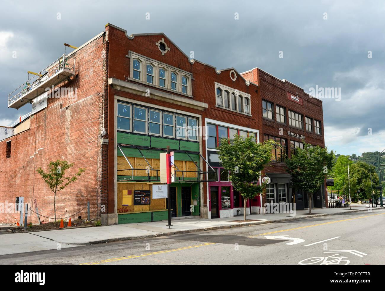 Remodeling old buildings in Asheville, North Carolina, - Stock Image